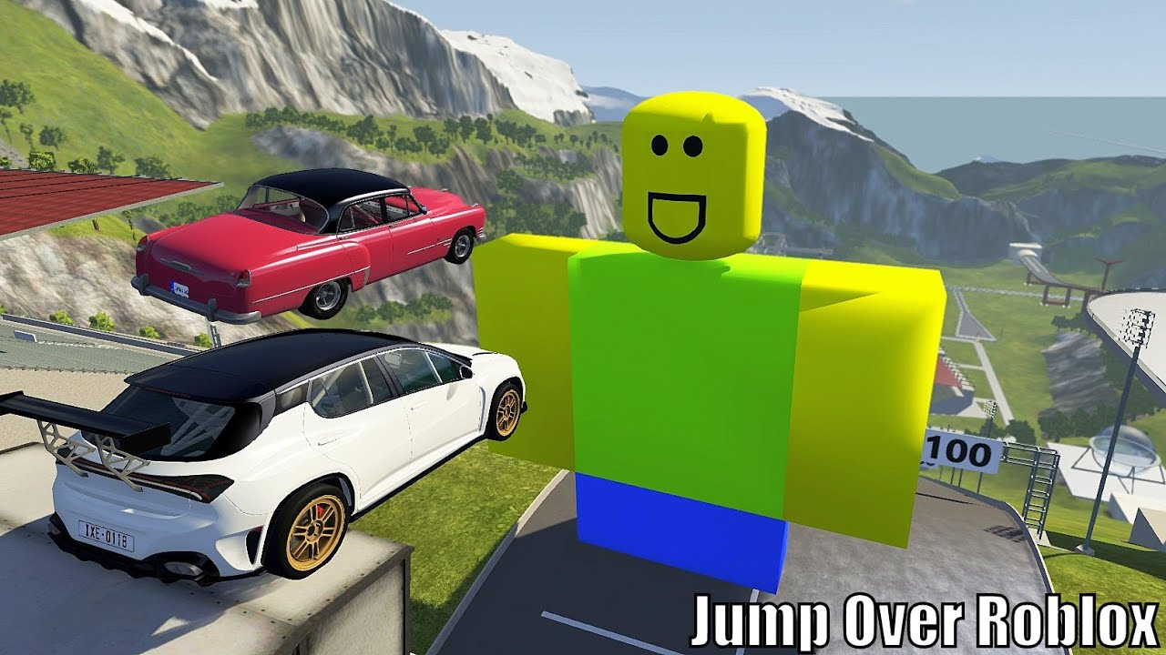 High Speed Car Jumps Over Roblox In Pool - BeamNG.drive Car Jump Arena