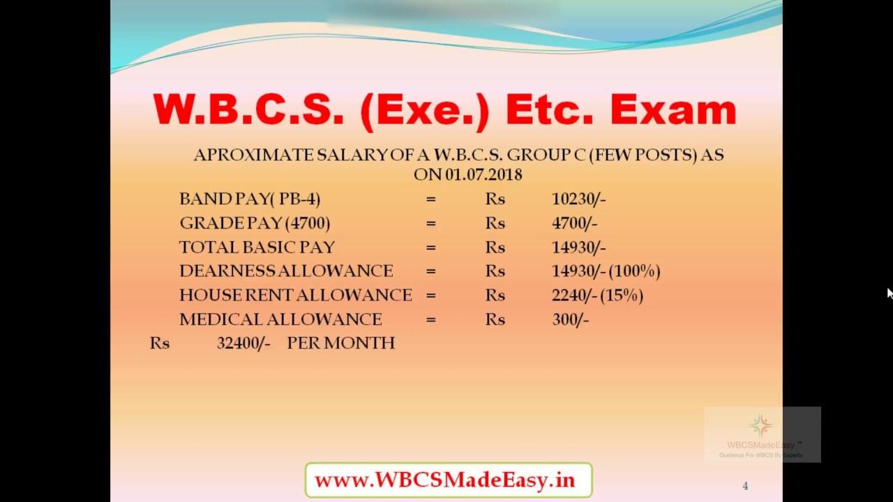 Salary of W B C S  Group A B C D Officers Per Month-Comparison