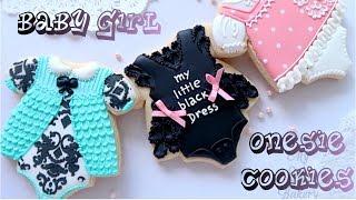 Cute baby girl onesie cookies. Baby shower cookies.🌸