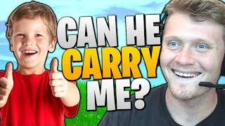 GIVING VBUCKS TO RANDOM KID IF HE CARRIES ME TO WIN! FORTNITE: BATTLE ROYALE