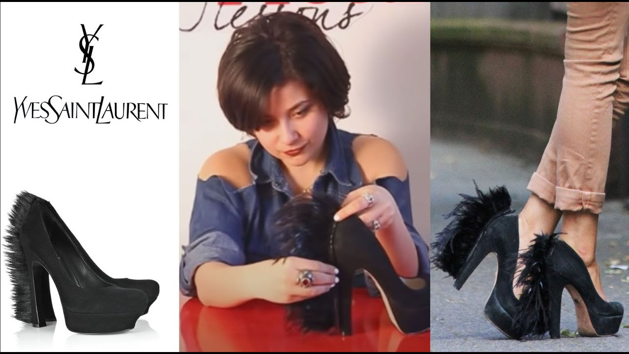 Fashion Attack : how to make YSL feather high heels DIY - YouTube