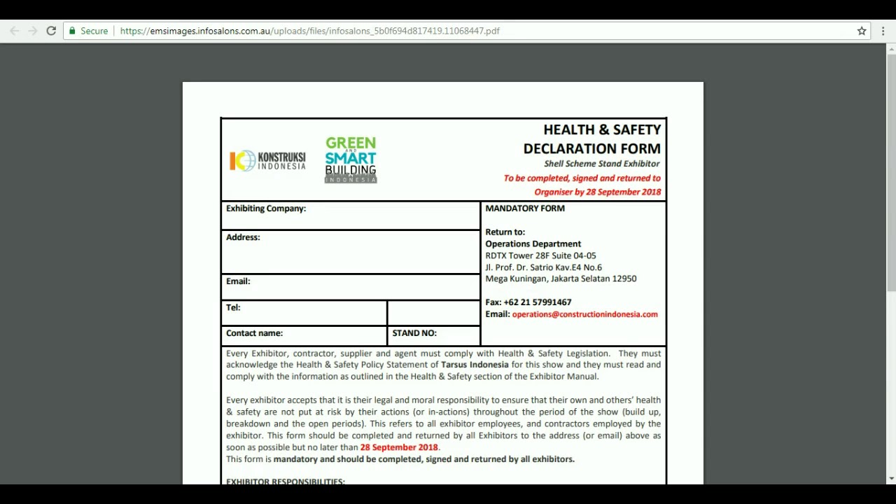 Exhibitor Online Manual Health And Safety Declaration Form Youtube