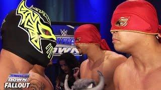 Los Matadores und die Lucha Dragons nach ihrem Sieg: SmackDown Fallout – 30. Juli 2015