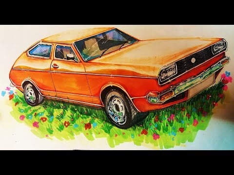 (real time full)-How to draw a 1974 volkswagen Passat MK1-----