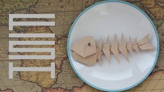 How to make fish skeleton from paper. Easy origami