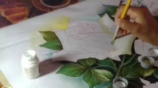 Rosas brancas – Pintura em tecido – parte 2