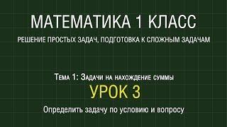Математика 1 класс. Урок 3. Определить задачу по условию и вопросу (2012)