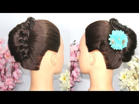 New french Bun Hairstyle For Party || cute hairstyle || simple hairstyles || hairstyle for girls thumbnail