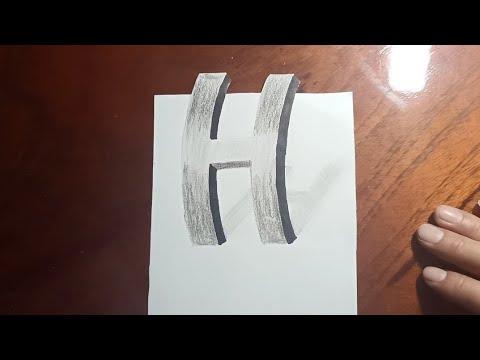 Vẽ chữ H 3D đứng trên mặt giấy