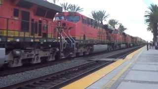 BNSF E/B Stack train leaving Fullerton station 2015-09-12