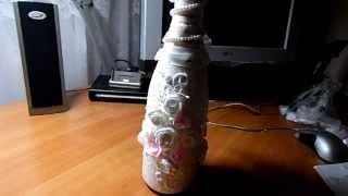 Декупаж свадебной бутылки Шампанского , МАСТЕР КЛАСС