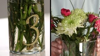 Diy Floral Centerpiece With Glitter Table Numbers | Diy Wedding