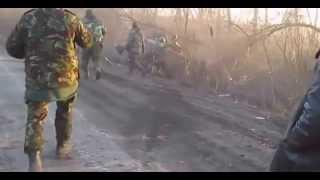 Пьяные украинские военные на бмп не разминулись с авто