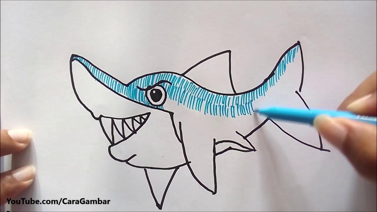 Cara Gambar Ikan Hiu - YouTube