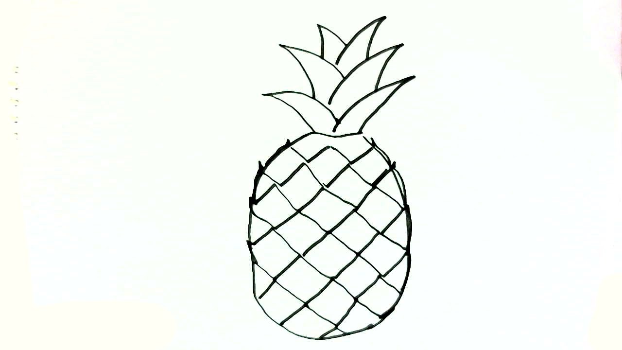 How to draw a Pineapple- in easy steps for children ...