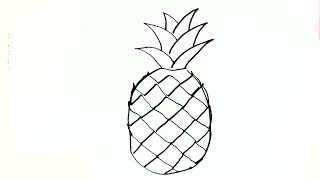 Outline Simple Pineapple Drawing