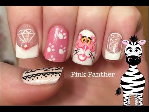 Pink Panther Nail Art Tutorial - Pink Panther Nail Art Tutorial - YouTube