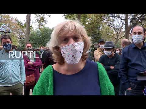 France: Restaurant and bar owners throw down keys at protest over new COVID restrictions in Paris