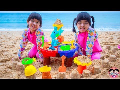 หนูยิ้มหนูแย้ม | เล่นทรายทะเล Kids playing with sand on the beach