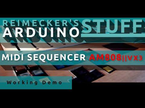 Arduino Midi Sequencer AM808 VX3 - Working Demo (Roland SC 155)