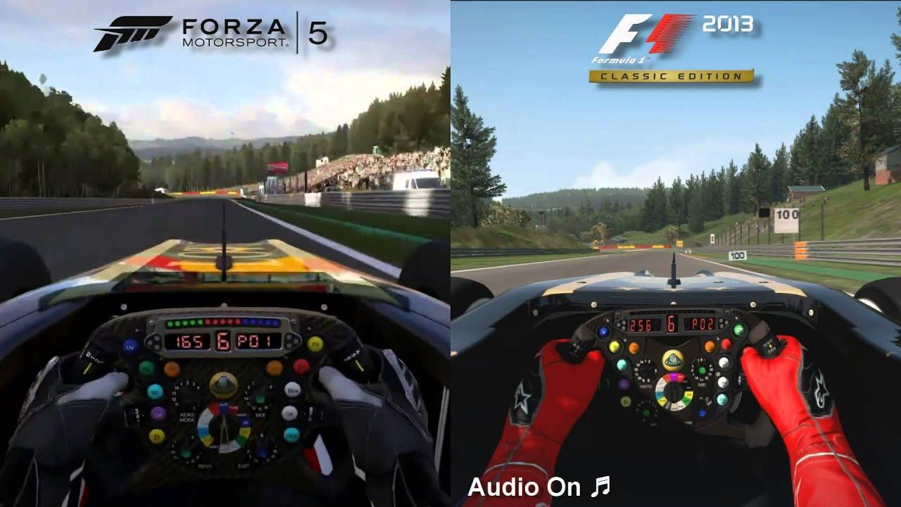 Forza Motorsport 5 (Xbox One) vs F1 2013 (PC) - Lotus E21 F1 @ Spa-Francorchamps - YouTube