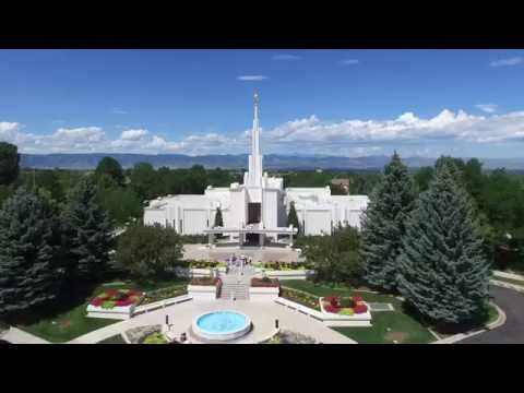 The Denver, Colorado LDS Mormon Temple aerial footage