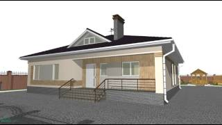 Проект одноэтажного дома с террасой «Европа»  B-093-ТП
