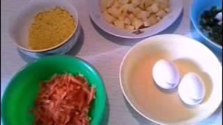 Суп с пшеном и яйцом на курином бульйоне без зажарки.Приготовление супов.Первые блюда