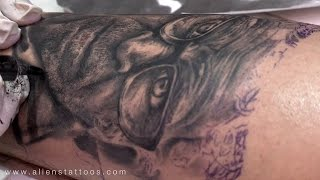Making of Portrait Tattoo of Old Man - Tattoo workshop on photo-realism tattoo art