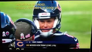 Cody Parkey #1 4missed kicks all hit upright Bears