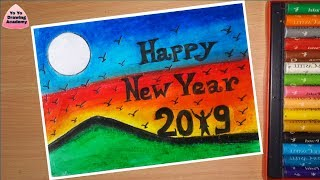 Step by Step New Year Drawing for Beginners with Oil Pastels 2019