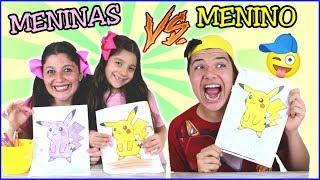 DESAFIO COLORINDO COM 3 CORES na escola ( 3MARKER CHALLENGE ) ★ MENINO vs MENINA  - ANNY E EU