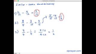 SF1 Subtraction of Fractions (Similar Fractions)