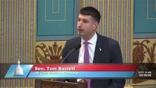 Sen. Barrett speaks in support of Senate Bill 686 to protect whistleblowers