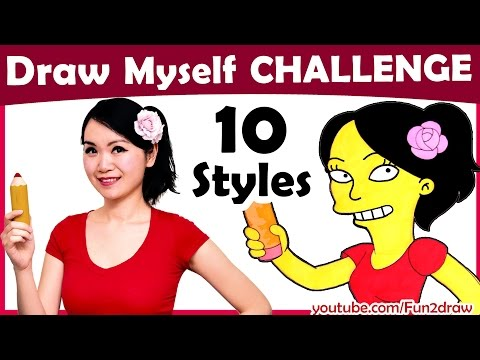 Art Challenge - How to Draw Yourself in 10 Animated Styles