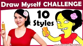Art Challenge - How to Draw Myself in 10 Animated Art Styles! | Mei Yu