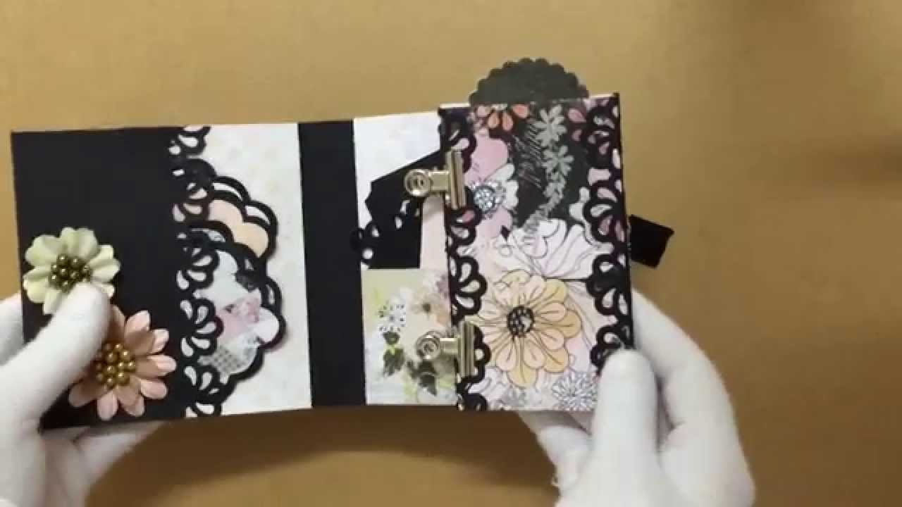 My Black White Handmade Mini Album With Multiple Pockets Tags Youtube