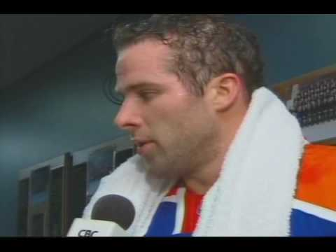 Somewhat awkward Dustin Penner 1st intermission interview ...