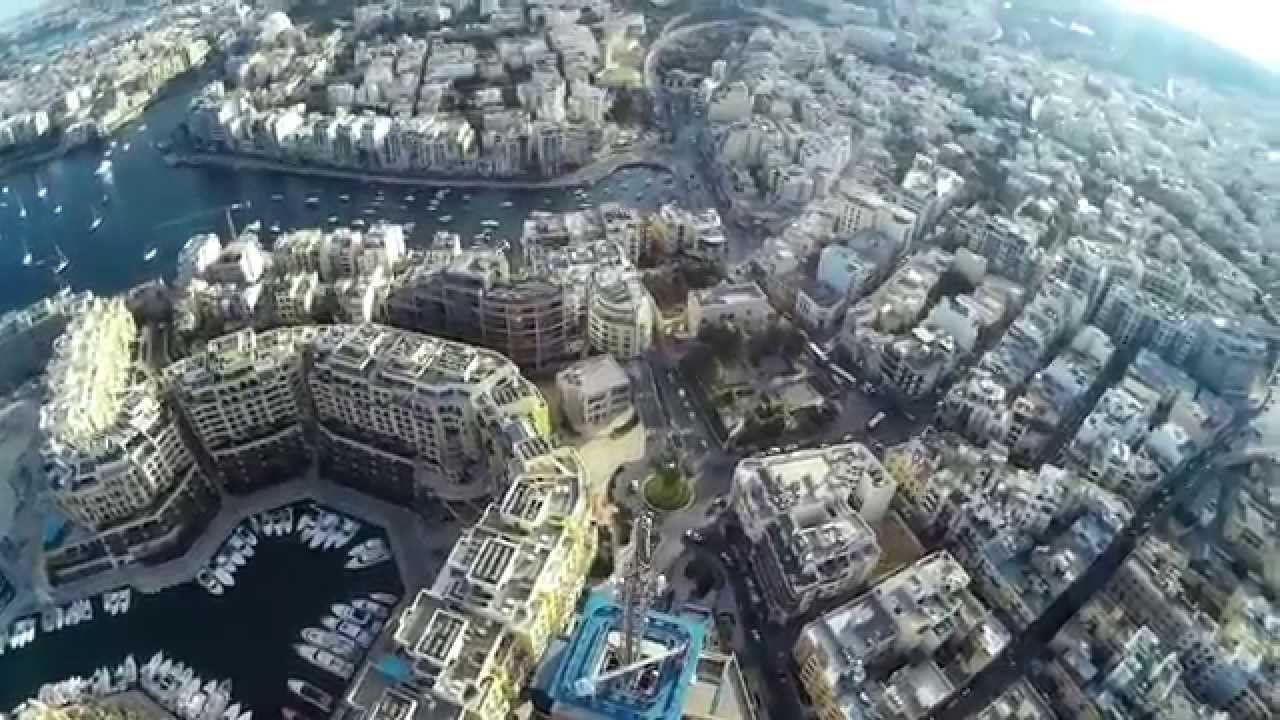 Aerial view of St. Juliens Malta Portomaso Tower - YouTube