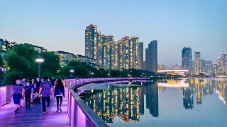 [4K] Evening walk in Gwanggyo Lake Park and Alleyway Market in Suwon Korea 경기도 수원 광교호수공원과 엘리웨이 저녁 산책