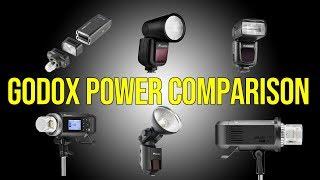Godox Power Comparison 2019 AD600 Pro, AD400 Pro, V1, AD200 Round Head