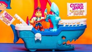 CAPTAIN JAKE & THE NEVER LAND Pirates Disney Jake Shark Pirate Ship Captain Jake Video Toy Unboxing