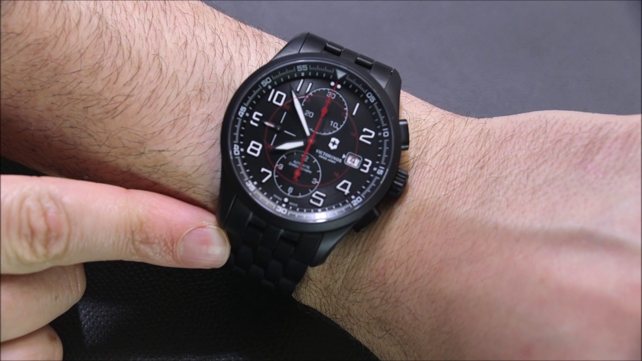 8f0996142b1 Victorinox Swiss Army Airboss Mechanical Chronograph Black Edition Watch  Review