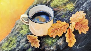 Autumn Leaves Coffee Cup Acrylic Painting LIVE Tutorial