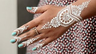 diy how to apply white henna body paint temporary tattoo tutorial 9 samira henna art