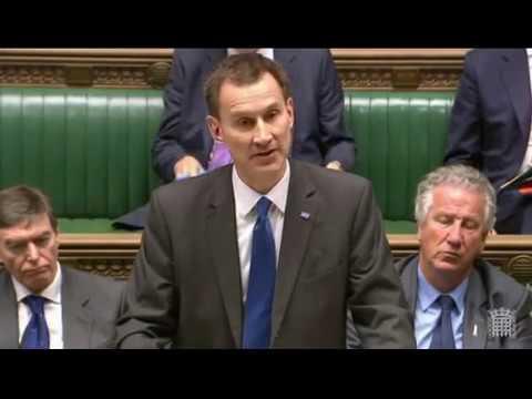 Jeremy Hunt rebuked Labour Shadow Secretary for Health
