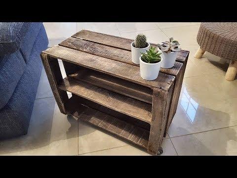 fabriquer petite desserte roulettes avec caisse pomme ancienne youtube. Black Bedroom Furniture Sets. Home Design Ideas