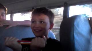 Kid breaks 7 pencils on his head on the bus