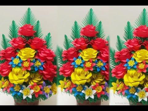 How To Make Paper Flower Bouquet // Easy Paper Flower Bouquet // Floral decoration
