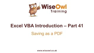 Excel VBA Introduction Part 41 - Saving as a PDF